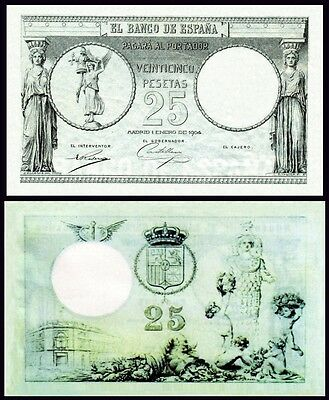 Facsimil Billete 25 Pesetas de 1904 NE - Reproduction
