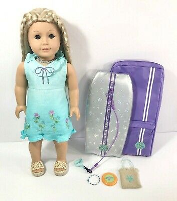 """American Girl Doll Kailey, Retired 2003! 18"""" Doll with Accessories & Surf Board!"""