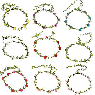Flower Garland Headband Wreath Hair Band Festivals Beach Party Boho Wedding Prom