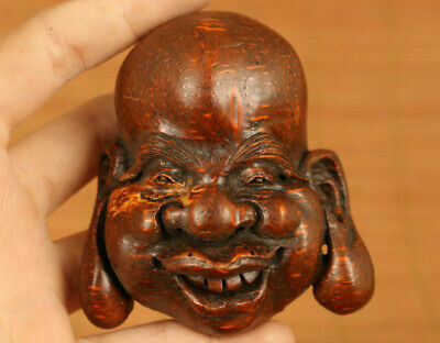 Asian old  hand carving bamboo root face statue figue netsuke noble decoration