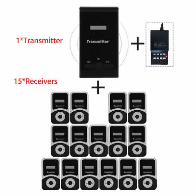 ATG100 Wireless Tour Guide System Transmitter+15 Receivers+Charger For Tourism
