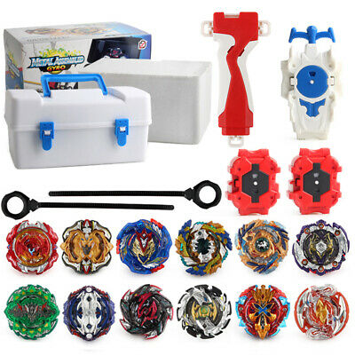 12x Beyblade Burst Set Spinning with Grip Launcher + Portable Storage Box Case