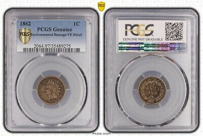 1862 United States Indian Head 1 Cent Coin PCGS VF Details