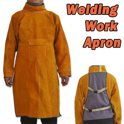 Cow Leather Welding Apron Welders Sleeves Full Length Blacksmiths Aprons Bib New
