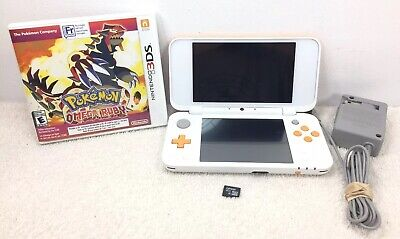 Nintendo New 2DS XL Handheld System White and Orange Used w Charger Pokemon Ruby