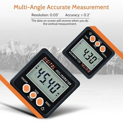 Upgraded 0-360° Bevel Box Angle Gauge Digital Protractor Magnet Inclinometer