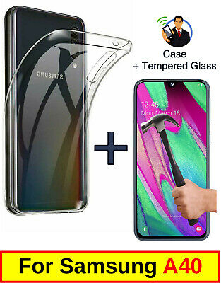 Slim Clear Cover Soft Gel Case & Tempered Glass Protector For Samsung Galaxy A40