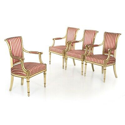 FOUR ANTIQUE CHAIRS | French White Painted Accent Arm Chairs, Early 19th Century
