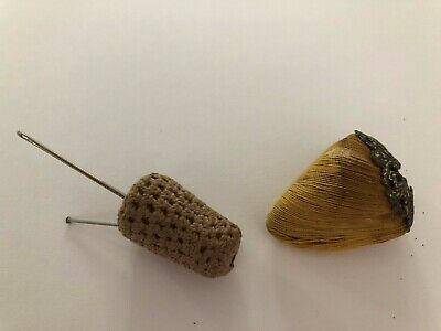TWO Small Antique Pincushions, One w/Silver Cap, Sterling?