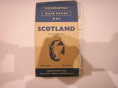 Vintage Geographia main roads map Scotland 8 miles to the inch