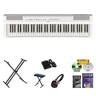 Yamaha P-121 Digital Portable Stage Piano P-Series 88 Note Hammer Action Bundle