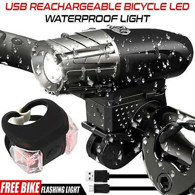 USB Rechargeable Bike Bicycle Cycle Front Bright LED Rear Tail Lights Lights set