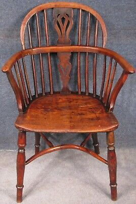 Georgian Solid Yew Wood And Elm Windsor Armchair With Crinoline Stretcher