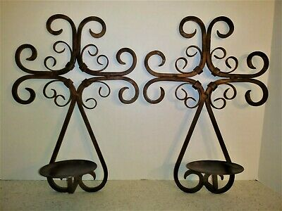 """2 Shabby Rusty Rustic Scroll Candle Holder Wall Sconce Wrought Iron 15""""X10.5"""""""