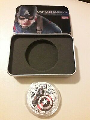 Marvel Avengers 'Captain America' Collectors Coin 1ozSilver Plated With Tin Gift