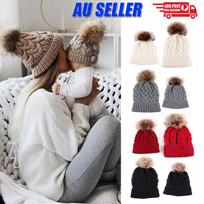 Women Mom Mother Baby Girls Boys Knit Winter Warm Wool Pom Bobble Hat Beanie Cap