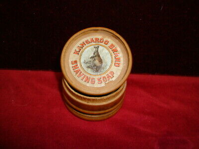 Vintage Kangaroo Brand Shaving Soap Wood Container Great Advertising