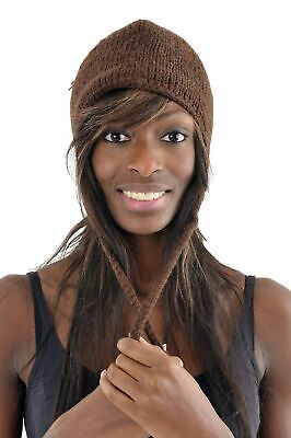 Bonnet marron brun pure laine et polaire