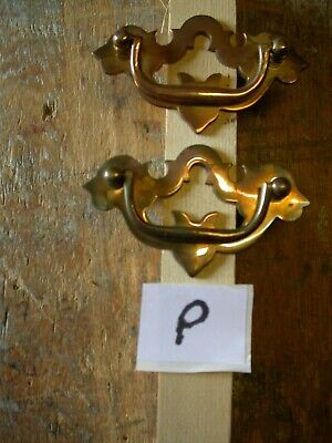 Nice pair of antique solid Brass cast handles. New unused reproduction stock (P)