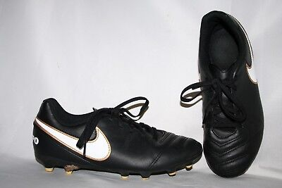 Nike Tiempo Youth Cleats Size 4.5 Boys Black White Gold Girls Soccer Sports Shoe