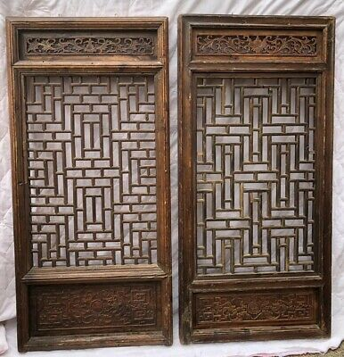 Awesome Antique Salvaged Carved Asian Maze Panels Dragons Not Exactly Same 52x24
