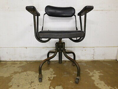 Antique VTG 1930s Steampunk Industrial Office Iron Tubing Upholstered Arm Chair