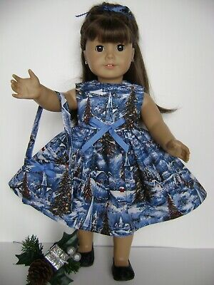 """Doll Clothes 18"""" Fits American Girl Christmas Dress & Bag New Handmade In Usa!"""