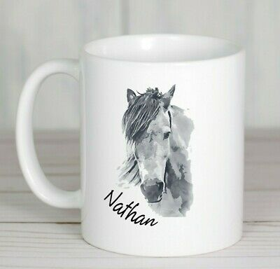 Horse painting mug personalised ceramic ideal gift any name printed