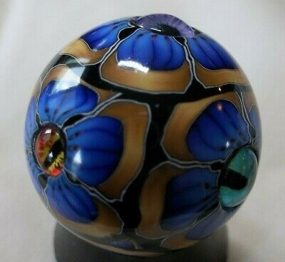 "ART MARBLES/PATWILSON/ALIEN FLOWER MARBLE,BLUE,  AWAKE, 1 1/4"", signed"
