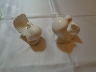 Pair OF Vintage White Love Birds Porcelain Ceramic Sculpture Figurine Birds