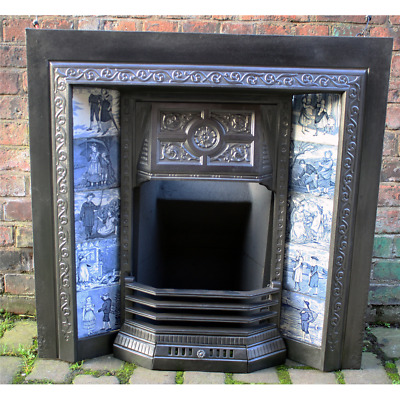 Late Victorian Cast Iron Fireplace Tiled Grate tiles are not included