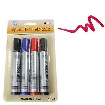 New 4 Pack Assorted Permanent Marker Pens Multi Color All purposes