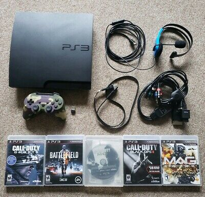 Sony PlayStation 3 Slim PS3 160GB Black Console System Bundle Lot Complete