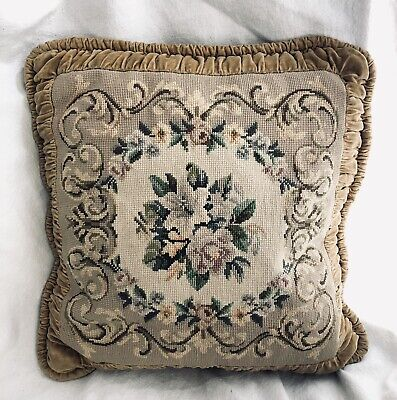 Antique Victorian Velvet Pillow Needlepoint.  French Boudoir Circa 1920's