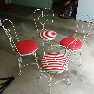 4 Ea. Vintage twisted heart ice cream parlor chairs