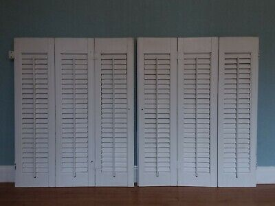 2 Sets 30 x 24 VTG Trifold White Wood Interior Louver Plantation Window Shutters