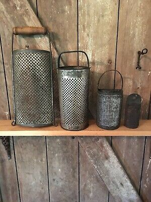 Four Antique Punched Tin Graters Round w/ Handle Farmhouse