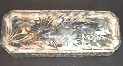 Fine Large Rectangular Crystal Glass Box with Silver Plate Mounts