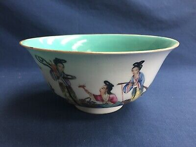 Vintage Chinese Porcelain Famille Rose Bowl Hand Painted Geishas Marked Bottom