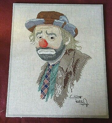 Vintage Cross Stitch Picture of a Clown