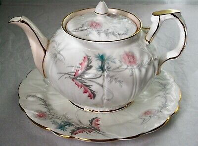 Aynsley Art Deco WAYSIDE Bone China Teapot & Under Plate 1930s