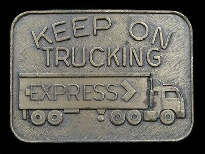 SB05169 VINTAGE 1970s **KEEP ON TRUCKING EXPRESS** TRUCK DRIVER BELT BUCKLE