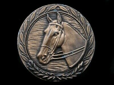 SB05157 VINTAGE 1970s **HORSE** COMMEMORATIVE BRASSTONE BELT BUCKLE