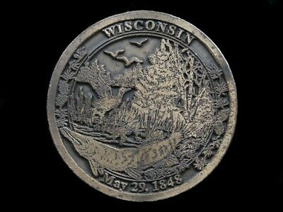 Sb05163 Vintage 1974 **Wisconsin May 29 1848** Statehood Commemorative Buckle