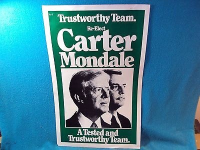 Vtg 1980 Re-Elect Jimmy Carter Mondale Tested Trustworthy Team Campaign Poster