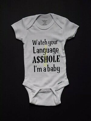 e8597c683 Personalized Baby Gerber Onesie | Watch Your Language A**hole I'm a