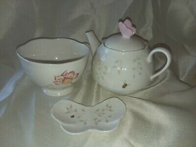 "Lenox ""Butterfly Meadow"" Stack able Tea Set with Bag Holder"