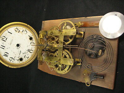 ANTIQUE c.1920 BRASS CLOCK MOVEMENT COMPLETE AND WORKING TIME & STRIKE