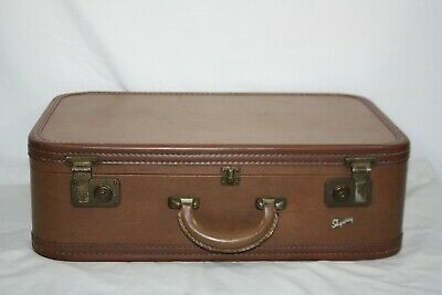 Antique Vintage Skyway Hard Shell Travel Suitcase Luggage With Keys Brown