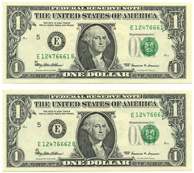 Pair of Consecutive 1999 $1 FRN Richmond, VA Both Look UNC w/a Fold
